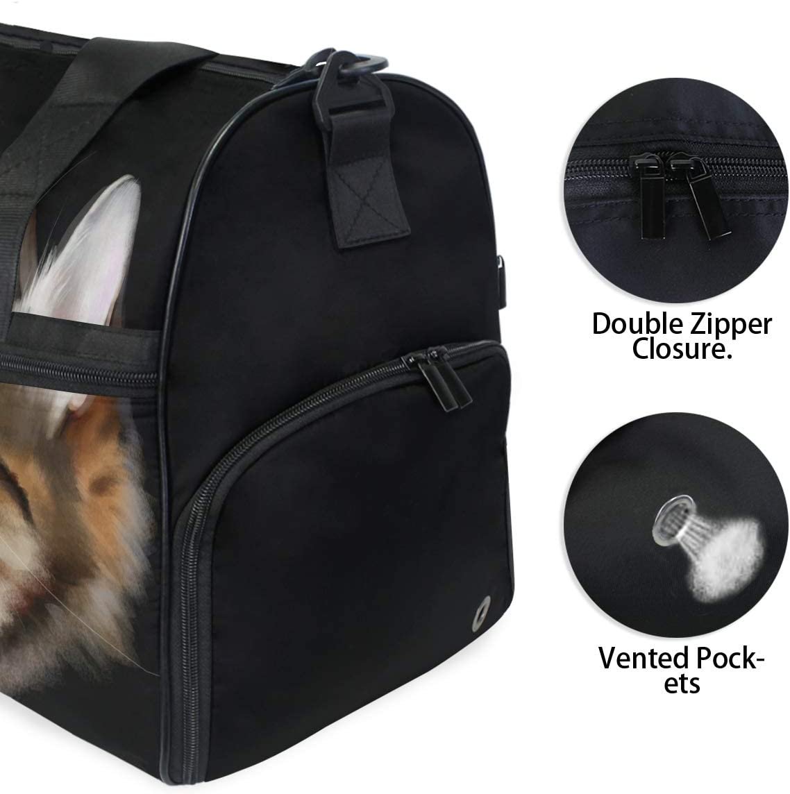 ALAZA Cute Kitty Cat with Butterfly Sports Gym Duffel Bag Travel Luggage Handbag Shoulder Bag with Shoes Compartment for Men Women