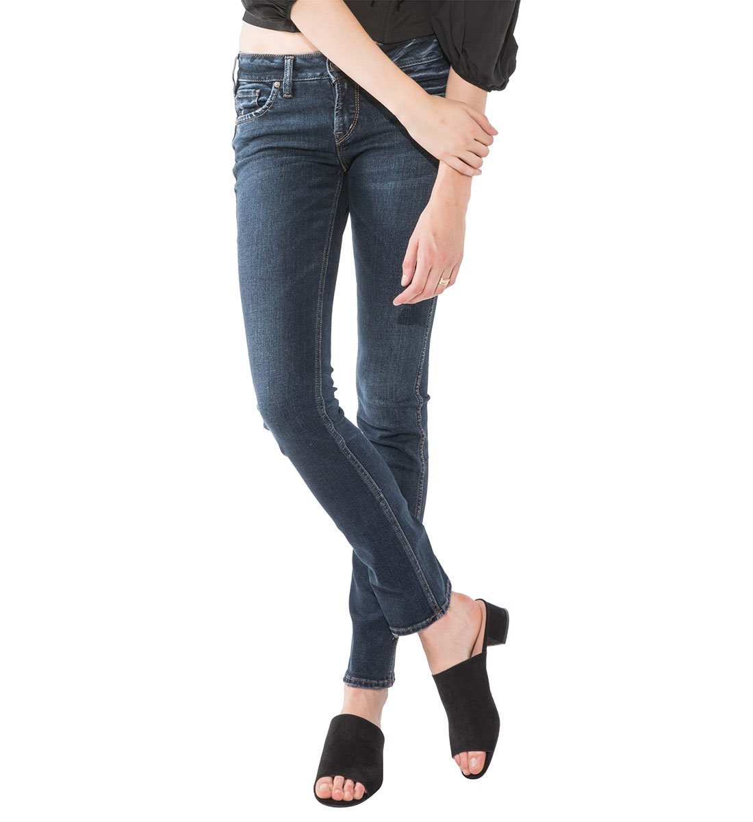 Silver Jeans Women's Elyse Relaxed Fit Mid Rise Straight Leg Jean, Dark Wash Indigo, 25X30