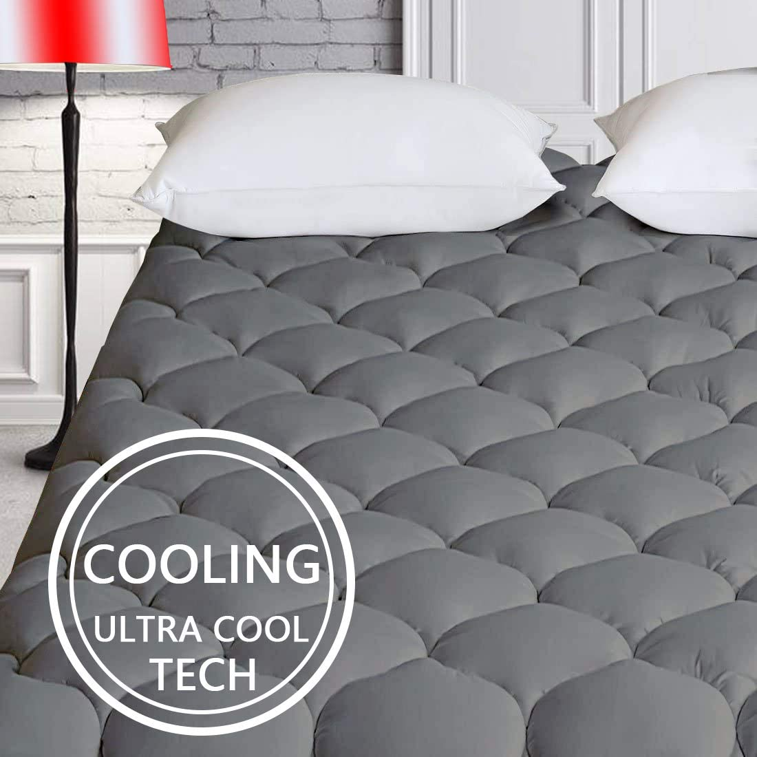 "HARNY Cooling Mattress Pad Cover Pillow Top Dark Gray Queen Size Ultra Cool TECH Fabric Breathable Mattress Topper Quilted Fitted with 8-21"" Deep Pocket"