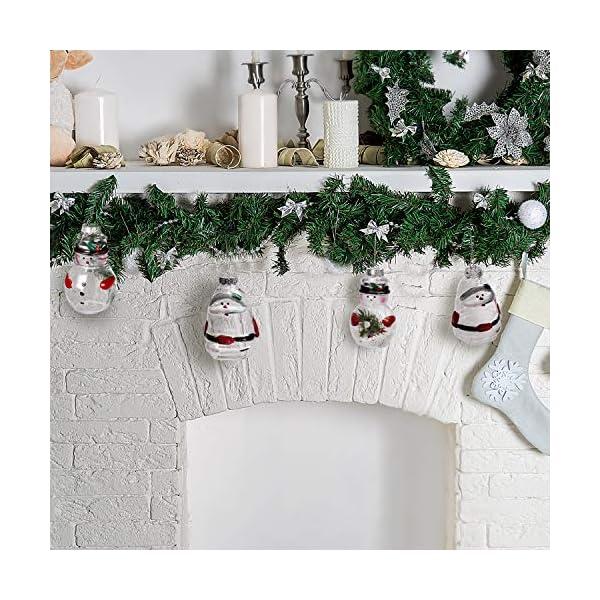 Palle di Natale Plastica (Set da 12)- Palline di Natale Trasparenti Forma Babbo Natale e Pupazzo Neve, 4 Cadauno per Decorazioni Natalizie, Addobbi per Feste di Compleanno, Addobbi Natalizi per Albero 5 spesavip