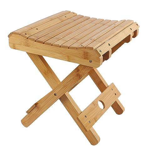 KTYXDE Taburete Plegable de bambú hogar Madera Mazar Silla ...