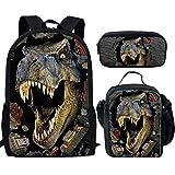 HUGS IDEA T-rex Dinosaur Backpack Teen Boys School Book bag with Lunch Box Pen Case 3 in 1
