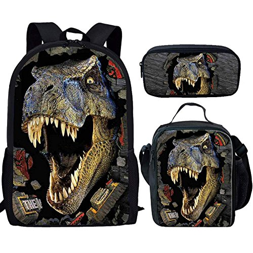 HUGS IDEA T-rex Dinosaur Backpack Teen Boys School Book bag with Lunch Box Pen Case 3 in 1 ()
