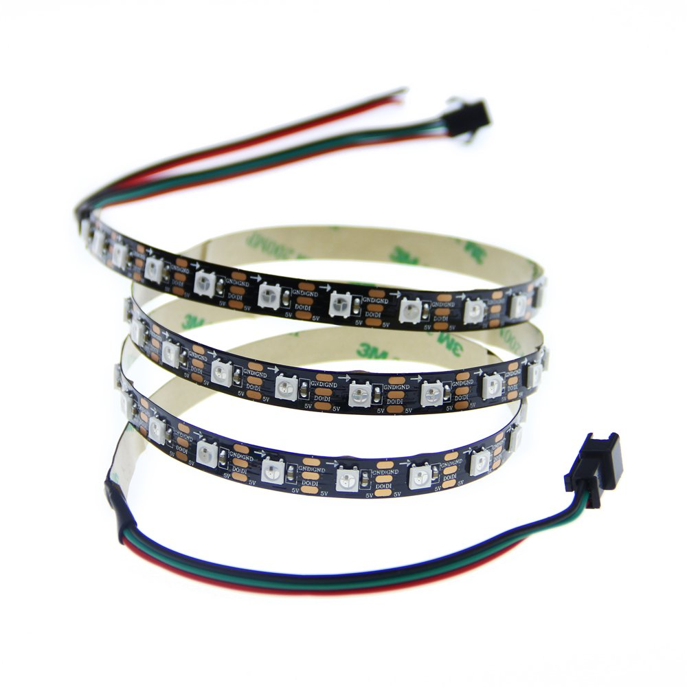 ALITOVE 3.2ft 60 Pixels WS2812B Individual Addressable RGB LED Strip Light Programmable WS2811 IC Built-in 5050 LED Rope Lamp DC5V Black PCB Non-waterproof IP33