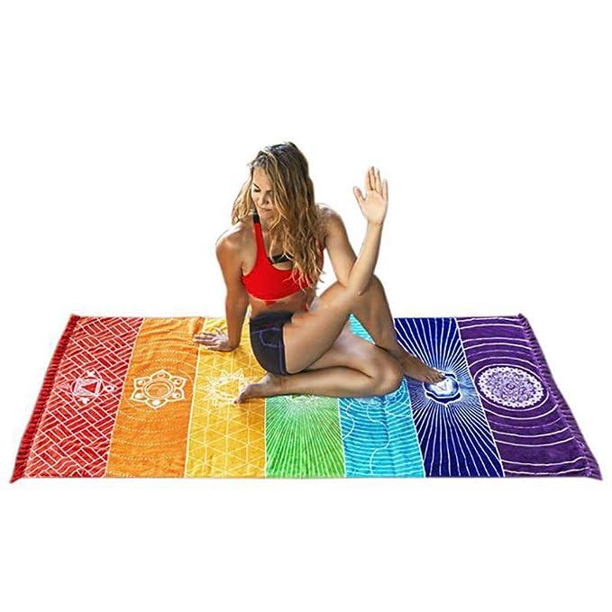 Amazon.com: Potelin Rainbow Chakra Tapestry Toalla Yoga Mat ...