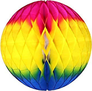 product image for 3-pack 8 Inch Honeycomb Tissue Balls (Rainbow Cerise/Yellow/Blue)