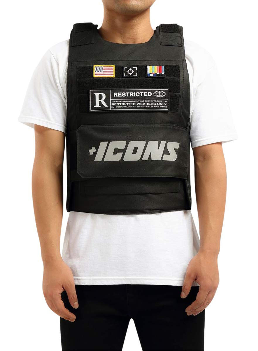 HUDSON Outerwear Men's Icon Reflective Fashion Vest with Adjustable Velcro Straps and Patches, Black