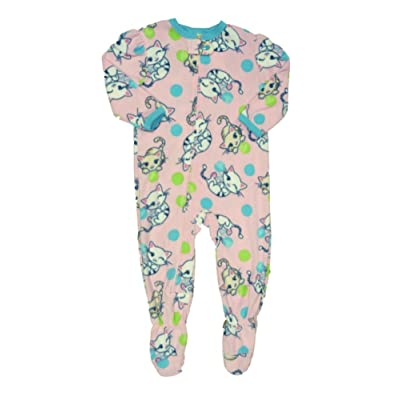 Infant Toddler Girls Plush Pink Kitty Cat Sleeper Sleep Play Kitten Pajamas