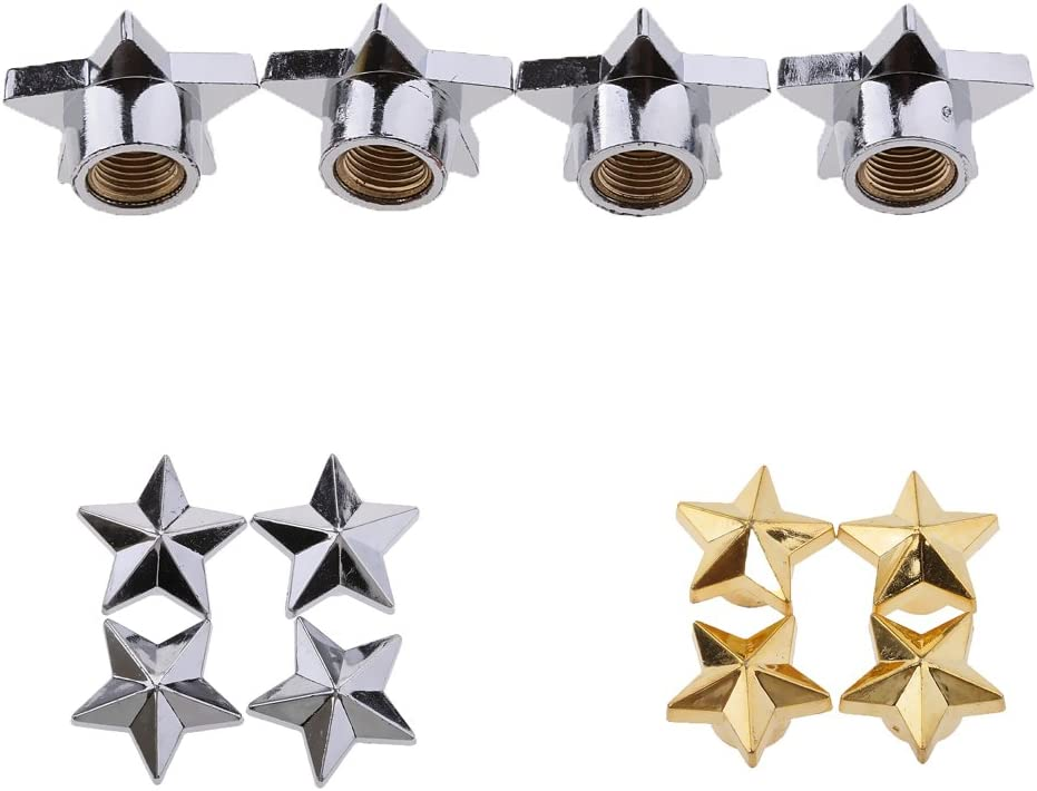 Silver 4pcs Car Truck Motorcycle Bicycle Valve Stem Cover Cap Star Shape