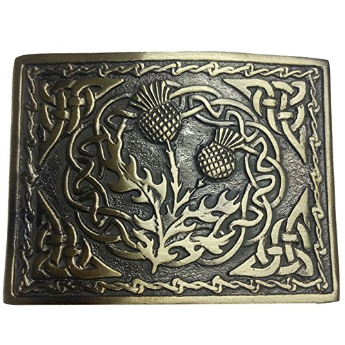 AAR Scottish Kilt Belt Buckle 2 Thistle Emblem Celtic Knots Antique Finish