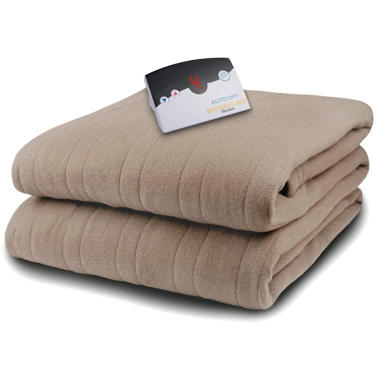 Biddeford Microplush Electric Blanket, Taupe, Full