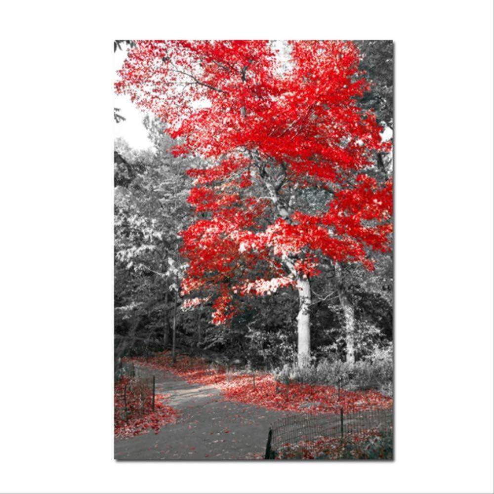 NOBRAND Moderno Lienzo Pintura Paisaje Carteles e Impresiones de Sala de Estar Abstracto árbol y Puesta de Sol Pared Cuadros decoración del hogar 60x80 cm (24x32 Pulgadas)