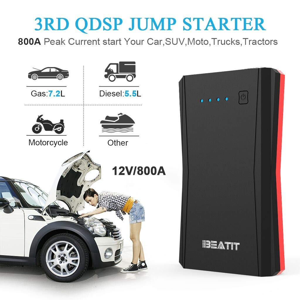BEATIT B10PRO QDSP 800A Peak 12V Portable Car Lithium Jump Starter (up to 7.2L Gas or 5.5L Diesel Engine) Battery Booster Phone Charger Power Pack with Intelligent Jumper Cables by BEATIT (Image #2)