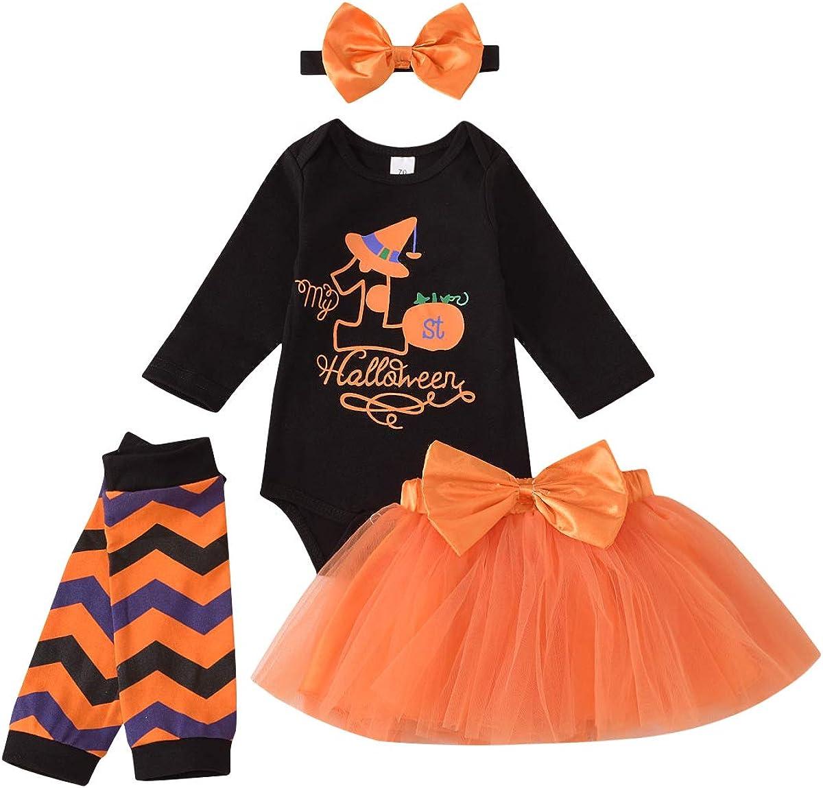 Carolilly Abito Neonata di Halloween Completo Pagliaccetto Nero Stampato a Maniche Lunghe+Gonna a Rete Arancione+Scaldamuscoli+Fascia per Capelli Set di Bambine di Halloween