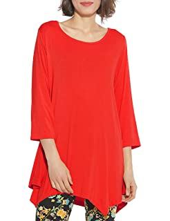 f0021a3d6ab Amazon.com  LARACE Women Plus Size 3 4 Sleeve Tunic Tops Loose Basic ...