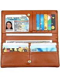 Women RFID Blocking Ultra Slim Real Leather Wallet-Clutch Wallet