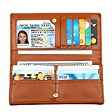 Dante Women RFID Blocking Ultra Slim Leather Wallet-Clutch Wallet-Shield Against Identity Theft(Brown)
