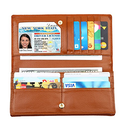 Brown Billfold - Lavemi RFID Blocking Ultra Slim Real Leather Credit Card Holder Clutch Wallets for Women(Brown)