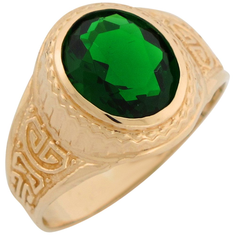 Jewelry Liquidation 14k Yellow Gold Simulated Emerald Greek Design May Birthstone Mens Ring