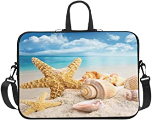 InterestPrint Ocean Beach Starfish Seashell Laptop Sleeve Case Bag, Starfish Shoulder Strap Laptop Sleeve Notebook Computer Bag 13.3 Inch for MacBook Pro Air HP Dell