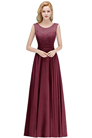 73aa463e69b MisShow Long Lace Chiffon Maid of Honor Dress A Line V Back Evening Gowns  Formal