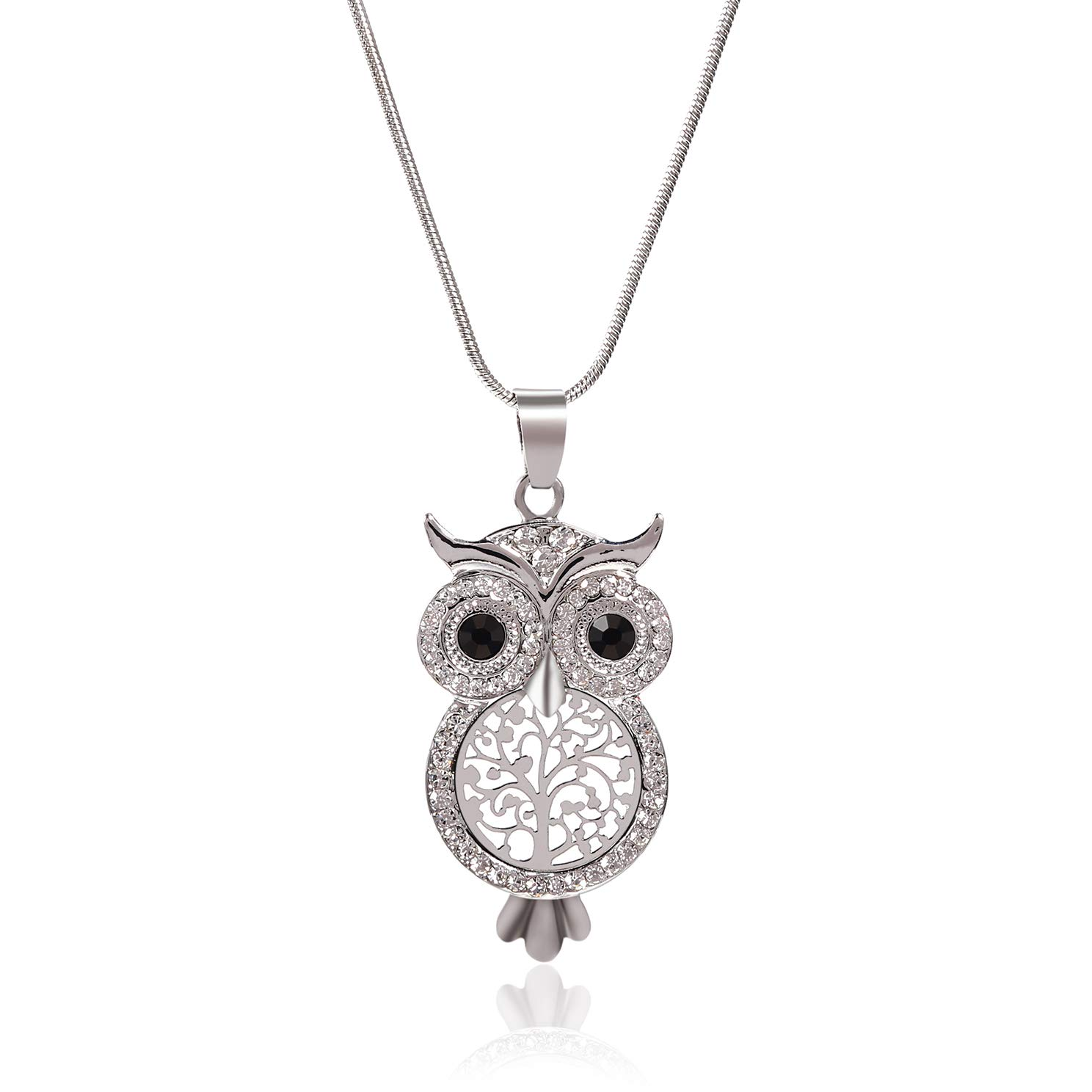 "8044355346dcc Niumike Crystal Insert Owl Necklace, 18"" Lucky Tree Body Pendant Necklaces  for Women and Girls"