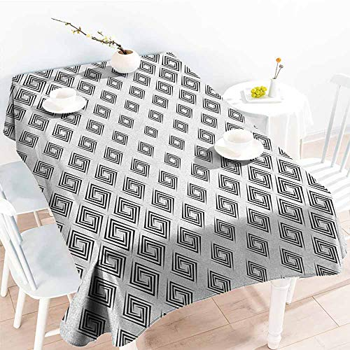 Tablecloth for Kids/Childrens,Abstract Minimalist Geometric Diamond Shaped Inner Square Infinite Symmetric Lines Pattern,High-end Durable Creative Home,W60X102L Black White
