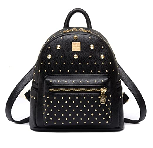 Santwo Women's Mini Rivets Waterproof PU Leather Shoulder Bag Casual Daypack Backpack (black)