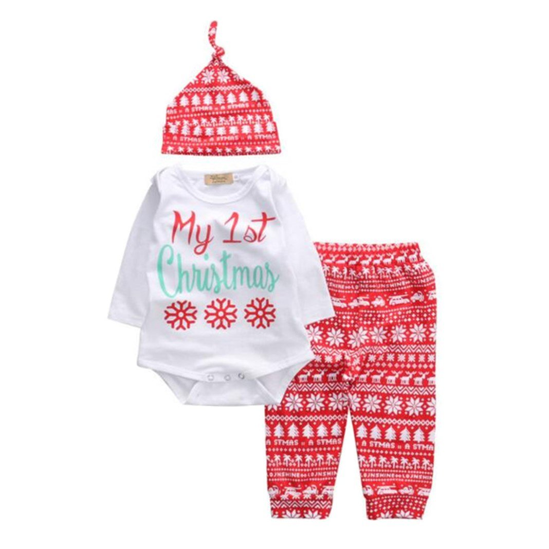 Hazane Infant Jumpsuits 0-18 Months Baby Romper Tops+Pants+Hat 1 Set Christmas Outfits