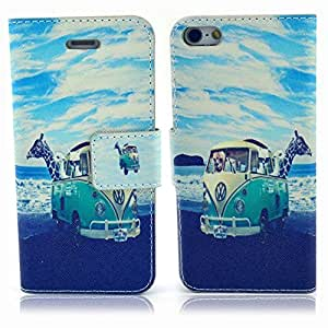 Einzige Slim Fit Leather Case Cover with Stand & Card Slots for Apple iPhone 4 4S (Giraffe and Car) with Free Universal Screen-stylus