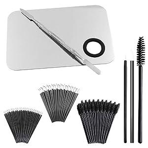 "Professional Makeup Palettewith Spatula and 150 PiecesMakeup Brush Kit, SourceTonCosmetic Palette (5.8""x 3.9"")& Makeup Applicators (Mascara Wands, Lipstick Applicators, Fine Eyeliner Brush)"