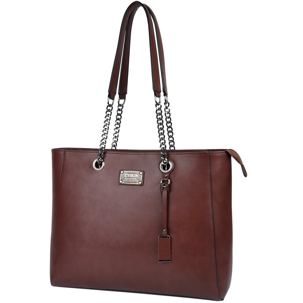 Laptop Bag Women,15.6 in Spacious Laptop Tote Soft PU Leather Lightweight Multi-Compartment Work Tote Comfortable Widen Straps