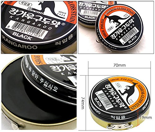 (Black x 3 pcs) Kangaroo Shoe Boots Dyes Polishes Mirror-Gloss Stain Shine Wax For Professional by POST-ART (Image #3)