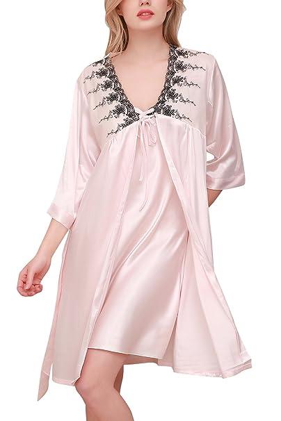 dc8ece8e72 Dolamen Camicia da Notte Donna con Kimono Vestaglia Pigiama, 2018 2 ...