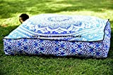 Square Floor Pillow Large Ottoman Pouf Cover Hippie Indian Seating Daybed Throw Sofa Cushion Cover Ombre Mandala Outdoor Dog Bed by ''Handicraftspalace''