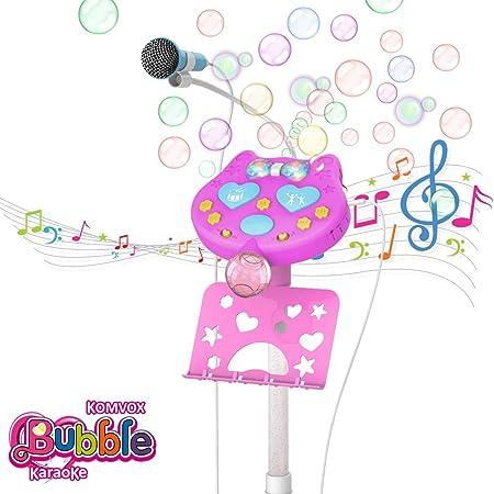 Blase Karaoke Mikrofon für Kinder mit Ständer, Musik Karaoke Kida, Bluetooth Blase Karaoke Mikrofon Party Lautsprecher, Mädch