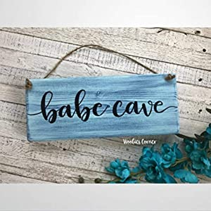 BYRON HOYLE Dorm Room Decor Babe Cave Sign Wooden Sign Wood Plaque Wall Art Wall Hanger Home Decor for Bedroom Living Room Best Present