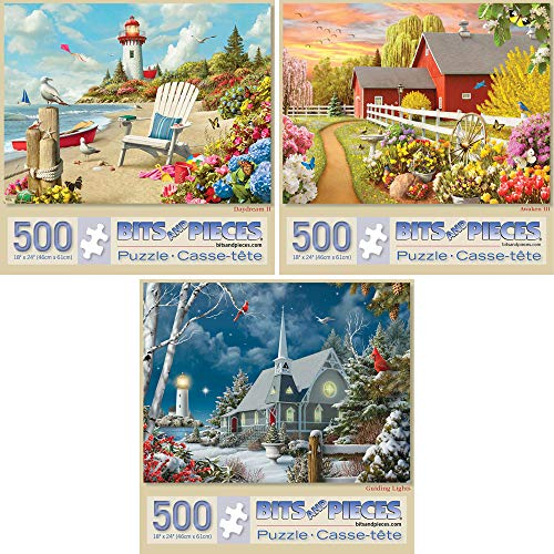 Bits and Pieces - Value Set of Three (3) 500 Piece Jigsaw Puzzles for Adults - Each Puzzle Measures 18