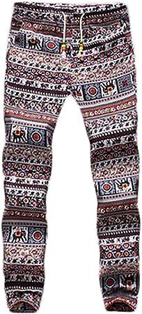 Pantalon Lino Hombre Fashion Flores Estampado Vintage Etnicas Estilo Casuales Con Cordón Pantalones