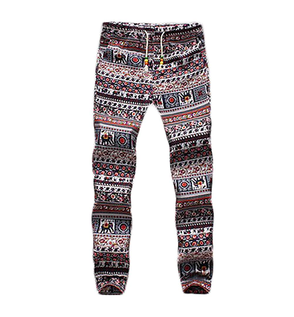 Pantaloni Uomo Eleganti Lunghi Moda Stampato Floreale Casual Vintage Stile Etnico Hippie Con Coulisse Lino Pantalone BOLAWOO
