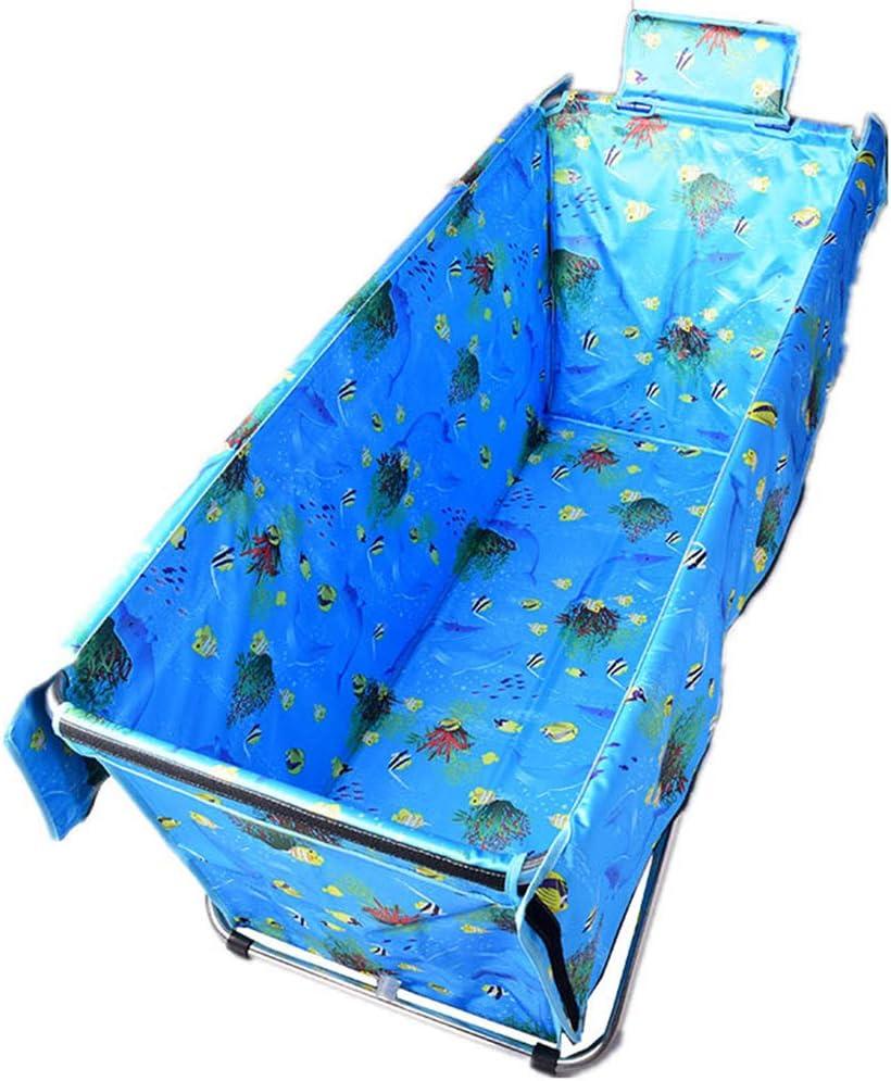RAY Bañera plegable de plástico para bebé, piscina infantil, barra de baño, bañera grande portátil con tapa y almohada, 105 × 45 × 52 cm, b, B