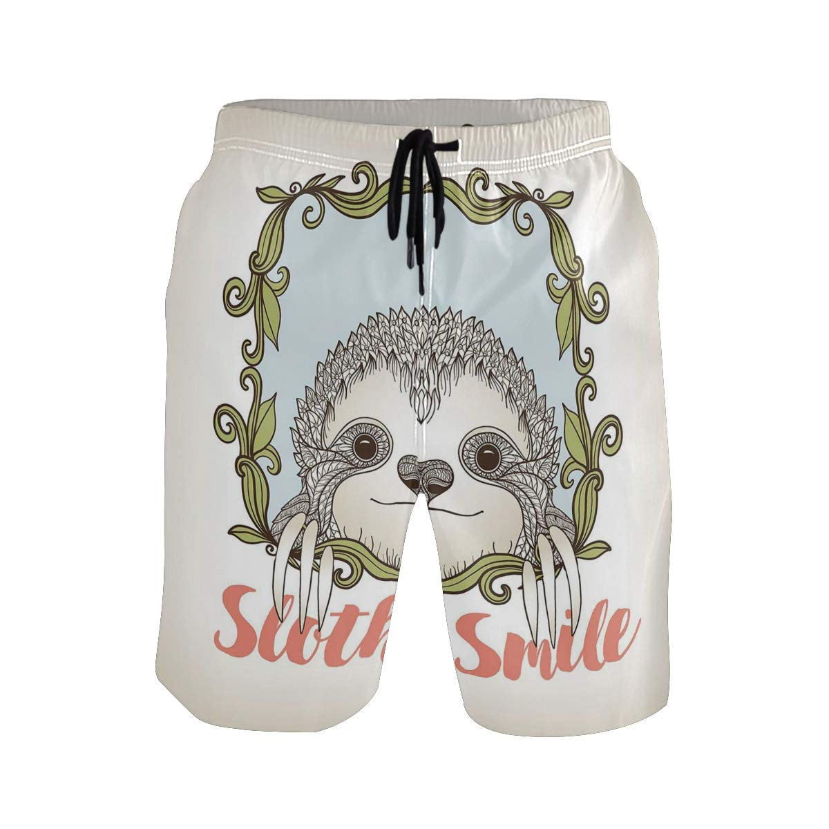 COVASA Mens Summer ShortsExotic Animal in Floral Frame Sloth Smile Theme with