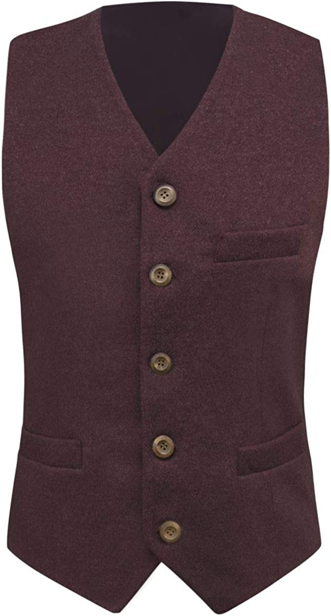 King /& Priory Burgundy Donegal Tweed Waistcoat