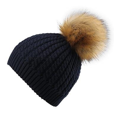 50b1314c5b1 YANIBEST Womens Ladies Girls Crochet Knit Knitted Hat with Pom Pom Bobble  Winter Warm Beanie Hat  Amazon.co.uk  Clothing