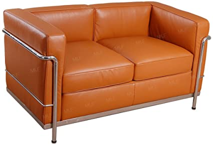 MLF Le Corbusier Style Sofa Loveseat, Aniline Leather, Light Brown