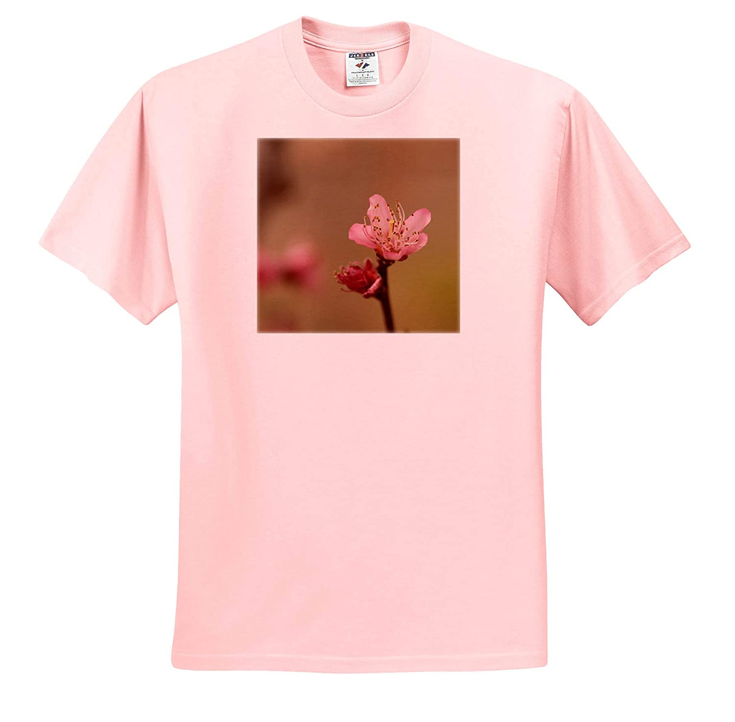 Photograph of a Peach Tree Blossom Against a Bokeh Background 3dRose Stamp City Flowers - T-Shirts