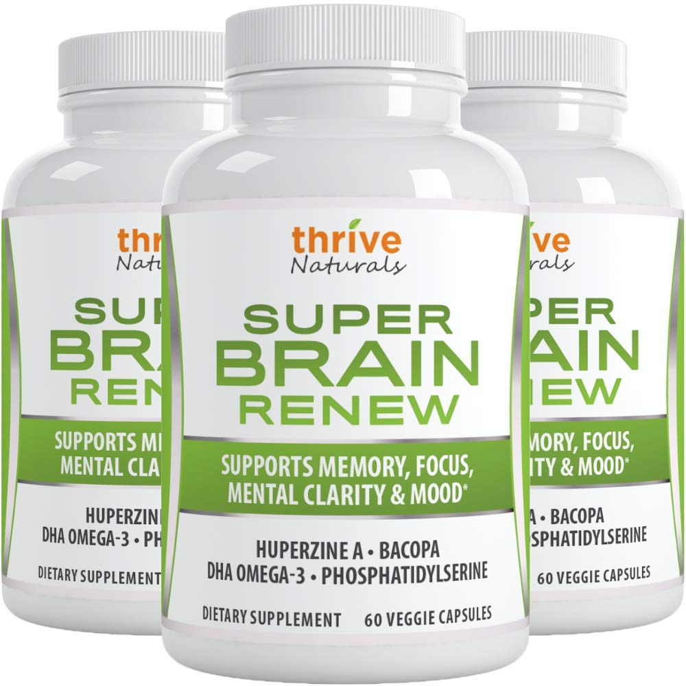 Thrive Naturals Super Brain Renew - Memory Supplement - Brain Food Made from Phosphatidylserine & Bacopa Extract - Best Vitamin Pills for Memory - 180 Vegetarian Capsules - 3 Month Supply (3 Pack)