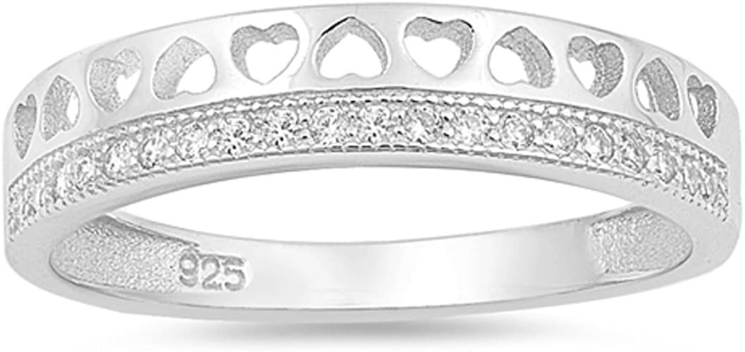 CloseoutWarehouse Cubic Zirconia Soliatire Open Heart Ring Sterling Silver Ring