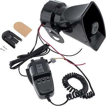 Elektronische Warnsirene Motorrad Alarm Feuerwehr Ambulanz Lautsprecher Mit Mikrofon 100 W 12 V 3 Töne Auto