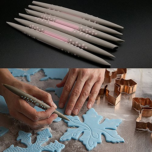 BESTONZON 6PCS Sugar Sculpting Tools Fondant Modelling Tools Cake Decorating Carving Tools for Sugarcraft Gum Paste Chocolate Random Color